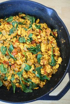 The Garden Grazer: Tofu Scramble with Spinach and Tomato -- made this for brunch today. Delish!  Squeezed a little lime juice over everything just before I added the spinach.