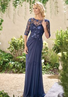 Jasmine Bridal - Jade Style in Caroline Sequin Lace/Jade Tiffany Chiffon with Stretch Lining, color Navy Best Prom Dresses, Mob Dresses, Event Dresses, Sexy Dresses, Beautiful Dresses, Bridesmaid Dresses, Dresses With Sleeves, Formal Dresses, Wedding Dresses