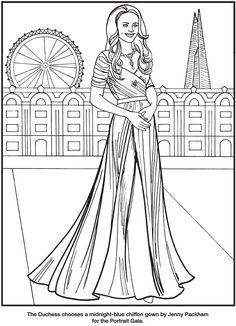 Kate, the Duchess of Cambridge Royal Fashions Coloring Book By: Eileen Rudisill Miller -  Dover Publications -  Coloring Page  3
