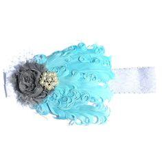 Vintage Feather Headband-Little Girls Headband-Baby Headband- Adult Headband, Blue Feather Headband. $14.00, via Etsy.