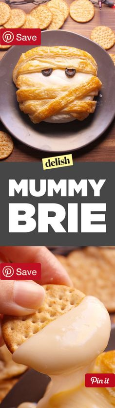 Mummy Brie 40 mins to make serves 4 - Ingredients Meat 2 Pepperoni mini Refrigerated 1 Egg large Condiments 2 Black olives Bread & Baked Goods 1 Sheet Puff pastry Dairy 1 Brie round 1 tbsp Milk