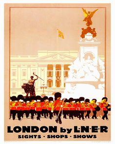 London Art Retro Poster Art Travel Poster Wall Art by Blivingstons