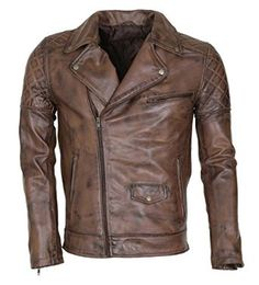 Men's Brown Waxed Designer Vintage Italian leather Jacket: Amazon.co.uk: Clothing