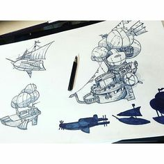 Found these great #airship #pencil #drawings by #Instagram user May Song! May drew each #steampunk #flyingmachine #illustration as part of some #conceptart  and #propdesign. I think they are pretty awesome! Can't wait to see if these get turned into actual props @maysonggg! Nice #artwork!