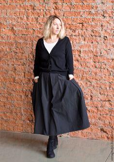 Купить Юбка из хлопка с шорохом art.87a - темно-серый, в полоску, юбка, юбка длинная