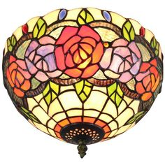 Blossom Tiffany Glass Shade Flush Mount ($155) ❤ liked on Polyvore featuring home, lighting, ceiling lights, floral lamp, flushmount lighting, floral lamp shade, flush mount lighting and leaf lamp