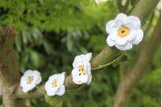 Guirlande fleurs au crochet - blanche