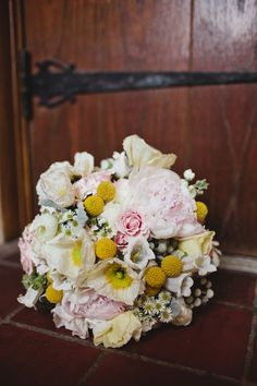 soft pink bouquet with billy balls from Fresh at Villa Flora // photo by Sara + Rocky Photography