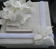 Gift Box with a Custom Leather Label   for Wedding by cocosheaven