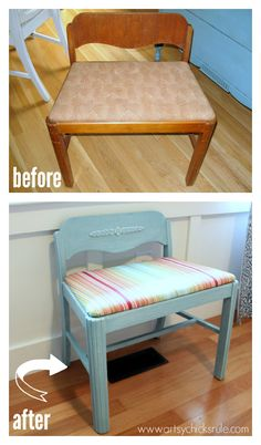 Vanity Chair Makeover with Provence Chalk Paint - before and after - artsychicksrule.com #chalkpaint #homedecor #provence