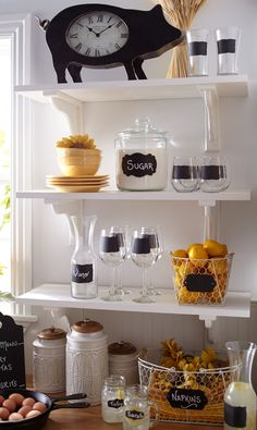 That's why the chalkboard trend fits right in with the farmhouse trend. Kitchen Organization Pantry, Organization Ideas, First Apartment Decorating, Layout, Eclectic Decor, Open Shelving, Shelves, Kitchen Remodel, Kitchen Decor