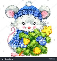 Christmas Mouse Cross Stitch Pattern to print online. Christmas Clipart, Christmas Paper, Christmas Cross, Christmas Pictures, New Year Greeting Cards, Christmas Paintings, Christmas Illustration, Christmas Animals, Counted Cross Stitch Patterns