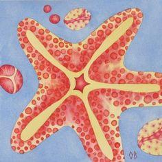 Seastar Ocean Print Nautical Illustration Kids by NurseryRoomDecor