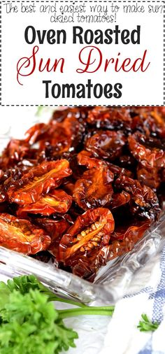 Sweet with a condensed tomato flavour; just a hint of salt and a drizzle of good olive oil, Oven Roasted Sun Dried Tomatoes are a great ingredient to have on hand at all times. What are you going to do… Pork Recipes For Dinner, Italian Dinner Recipes, Instant Pot Dinner Recipes, Wrap Recipes, Oven Roasted Peppers, Oven Roasted Tomatoes, Make Sun Dried Tomatoes, Dried Vegetables, Vegetable Dishes