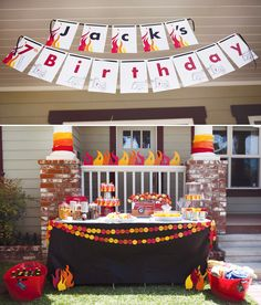 Fire Truck Birthday Party - this was an amazing party! I want to get squirt bottles and set up fake flames!