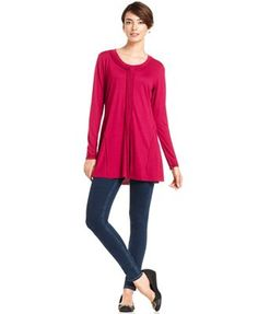 Grace Elements Top, Long-Sleeve Pintuck Tunic