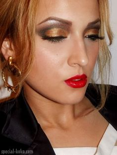 stunning looks. Eyeshadow colors, bright red lipstick and tan skin
