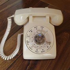 Vintage White Creme Desktop Rotary Phone ITT #ITT