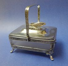 antique Sardine Box. Victorian. Silverplate  Frosted Glass Liner Dish. www.rubylane.com