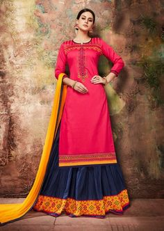 Traditional Party wear Pink Colour Jam cotton silk indo Western Suit Shop for Anarkali kurtas & dresses with ethnic motifs, floral prints, zari work, etc Long Choli Lehenga, Anarkali Gown, Bollywood Suits, Bollywood Fashion, Western Suits, Designer Salwar Suits, Designer Dresses, Ethnic Wear Designer, Party Wear Sarees