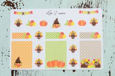 This set includes 21 Thanksgiving stickers that you will FALL in love with :) Half boxes measure 1.5W x 1.9H, rectangles are 1.5W x .5H, graphics