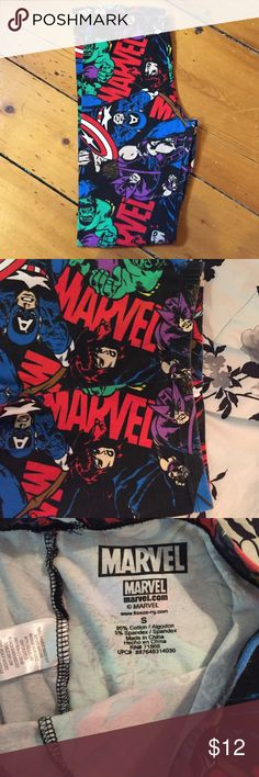 Marvel Printed Leggings I've only worn these about twice, so they're in great condition. There are multiple characters on the leggings, and are super comfy! No trades, and feel free to leave comments below if you have any questions! Forever 21 Pants Leggings