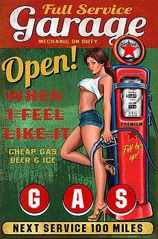 Plaque publicitaire pin up sexy et pompe a essence garage open tole metal Garage Art, Garage Signs, Garage Metal, Vintage Advertisements, Vintage Ads, Vintage Posters, Pin Up Girls, Voitures Hot Wheels, Mode Pin Up