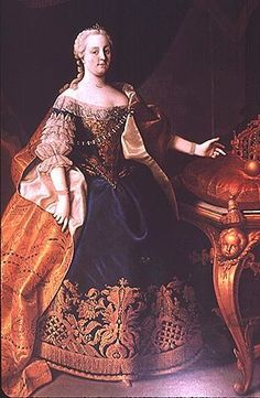 1740s - Maria Theresia in dark blue dress probably by Martin van Meytens