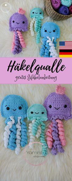 Crochet jellyfish – free crochet pattern by - Amigurumi Crochet Gratis, Crochet Amigurumi, Crochet Toys, Crochet Baby, Free Crochet, Knit Crochet, Baby Knitting Patterns, Baby Patterns, Crochet Patterns