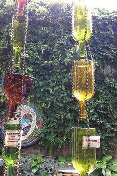 Up-Cycled Wine Bottle Rain Chain http://hative.com/creative-rain-chains/