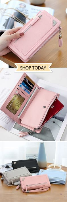 1eef7dee1 Stylish PU Leather 12 Card Slots Candy Color Long Wallet&Purse #fashion  #love #style