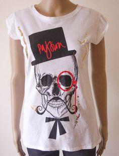Maxi t-shirt maglietta donna cotone made in Italy stampa  teschio taglia Unica