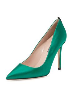 X332P SJP by Sarah Jessica Parker Fawn Satin Pointed-Toe Pump, Emerald