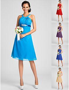Knee-length+Chiffon+Bridesmaid+Dress+-+Ocean+Blue+/+Royal+Bl...+–+USD+$+69.99