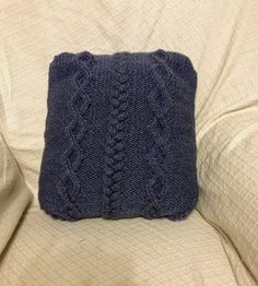 Hand-Knitted Cabled / Plaited Cushion by SheynasKnittedKnacks