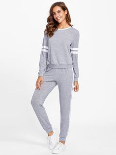 Two-piece Outfits by BORNTOWEAR. Varsity Striped Marled Knit Loungewear Set