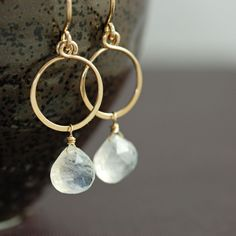 Moonstone Hoop Earrings in 14k Gold Fill, Gemstone Dangle Earrings Handmade