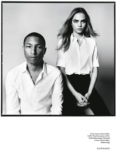 Born Lucky | Cara Delevingne + Pharrell Williams | Vogue UK Photographer: David Bailey Styled by: Kate Phelan Editorial CLASSIC WHITE BUTTON UP SHIRT BLACK SKIRT