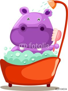 Vecteur : Bathing cute hippopotamus