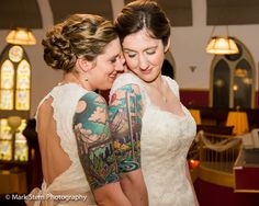 Photo Of The Day: You Complete Me (by Mark Stern Photography) Gorgeous brides. Gorgeous tattoo. #wedding #brides #equality #gaymarriage Make sure to credit photographer!