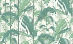 Palm Jungle (95/1002) - Cole & Son Wallpapers - A multi layered design of palm leaves creating a dense jungle of foliage, shown here in emerald green on a ivory background. Please order a sample for true colour match. Paste-the-wall product.