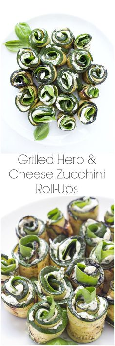 Grilled zucchini filled with herby cream cheese, baby spinach, and aromatic basil. Easy yet elegant side dish or appetizer | @Katya | Little Broken