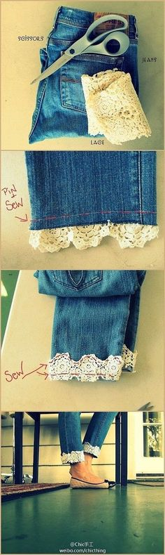Give your jeans a feminine touch by adding a hint of lace! Need a pair of jeans or have some you'd like to donate? Chez Thrift if where you want to go! http://ccs4u.org/chez-thrift/