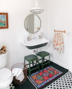 This charming bathroom beautifully combines form and function to pack a whole lot of style into a small space. Decor, Interior, Home, Trendy Bathroom, Budget Bathroom Remodel, Ikea Small Spaces, Bathroom Remodel Cost, Mold In Bathroom, Bathroom Design