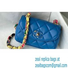 Chanel Lambskin Mixed Fibers Small Flap Bag AS2369 Blue 2021