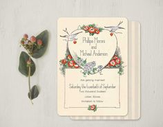Vintage Bluebird Themed Invitations or Save the Dates by GoGoSnap, $85.00
