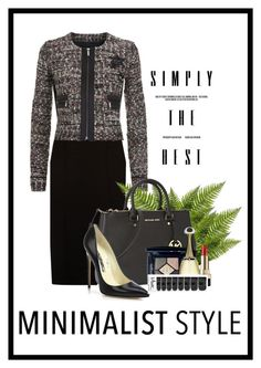 """""""Less is More"""" by sgolis ❤ liked on Polyvore featuring BOSS Hugo Boss, Karl Lagerfeld, Michael Kors, Brian Atwood, Dolce&Gabbana, Christian Dior, black, blackdress, Minimaliststyle and blazerdress"""