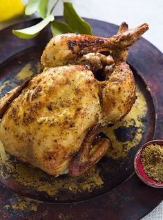 Try Sumayya Usmani's spicy masala whole chicken recipe as an alternative to a traditional Sunday lunch.