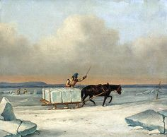 Cornelius Krieghoff | The Ice Cutters on the St. Lawrence at Longueuil, 1850 Cornélius Krieghoff Follow the biggest painting board on Pinterest: www.pinterest.com/atelierbeauvoir