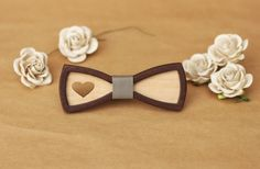 Women Bow Tie with heart. Little 3D Bow-ties for party, for birthday for Valentin's day. Handmade with Love. by BuffBowTie on Etsy